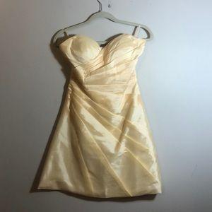 Dresses & Skirts - Vintage handmade strapless yellow dress